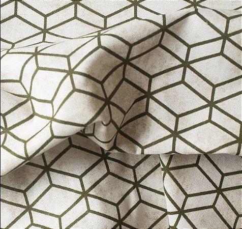 Tecido para Sofá e Estofado Impermeabilizado Musgo e Bege Geométrico - AST- 14