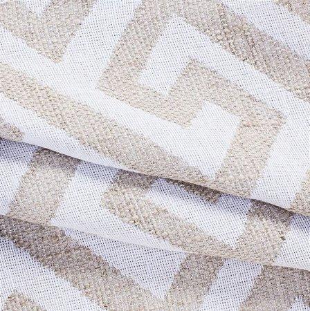 Tecido para Sofá Linho Rústico Geométrico Bege e Branco - Vice 20
