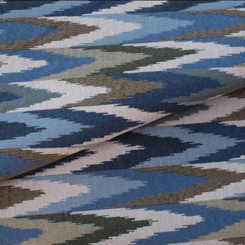 Tecido para Sofá e Estofado Jaquard Verde e Azul - Ferr - 36