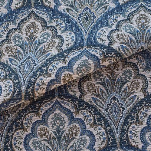 Tecido para Sofá e Estofado Jaquard Verde e Azul - Ferr - 38