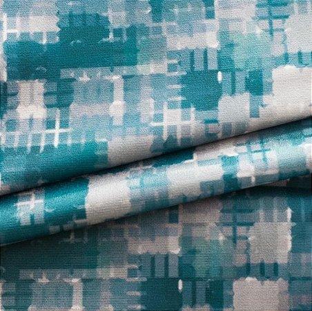Tecido para Sofá e Estofado Veludo Geométrico Tons de Verde - MARSE 03