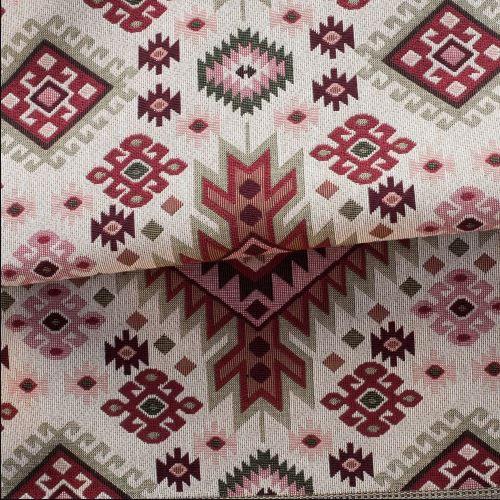 Tecido para Sofá e Estofado Jaquard Verde Vermelho Espiral Ferr - 46