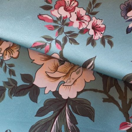 Tecido para Sofá e Estofado Veludo Floral Fundo Tiffany - MARSE 06