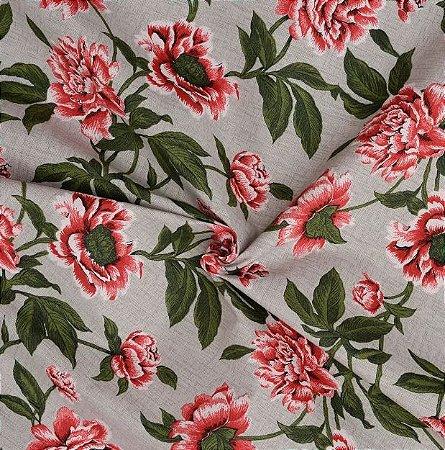 Tecido Acqua Sammer Cinza Floral com Tons de Vermelho e verde - Summer 344