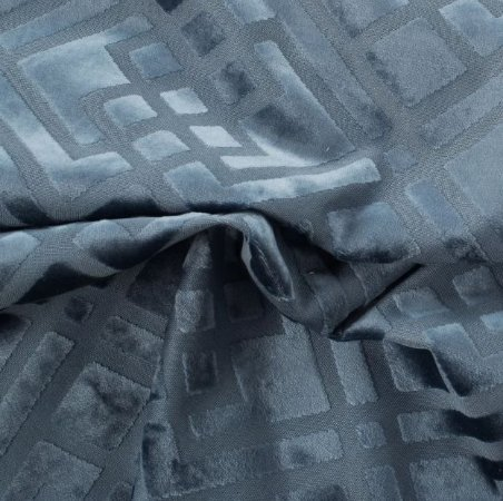 Tecido Veludo Alto-Relevo Geométrico Azul - Inc 06