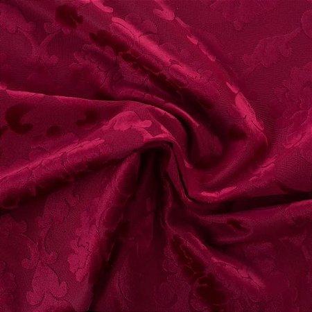 Tecido Veludo Alto-Relevo Medalhão Vermelho - Inc 05