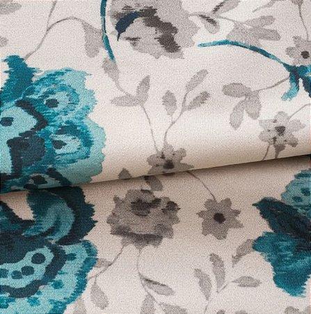 Tecido Veludo Floral Bege e azul - Mar 02