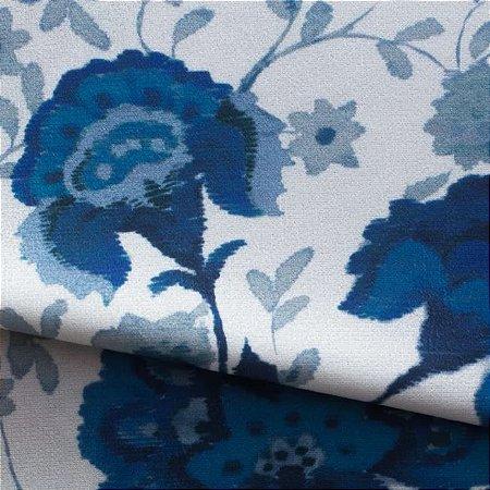 Tecido para Sofá e Estofado Veludo Floral Azul - MARSE 15
