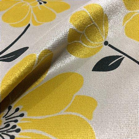 Tecido Veludo Estampado Fundo Bege com Flores Amarela– Califórnia 07