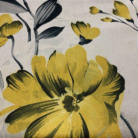 Tecido Veludo Estampado Fundo Bege com Flores Amarelas– Califórnia 09