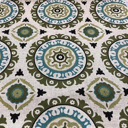 Tecido Para Sofá Geométrico Em tons de Verde e Azul - 05