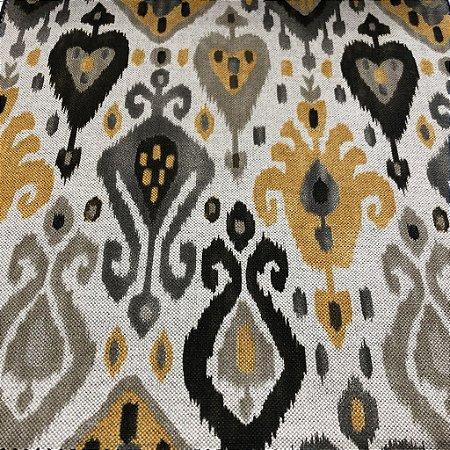 Tecido Para Sofá e Estofado Geométrico Em Tons De Amarelo e Cinza - Egito 31