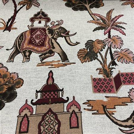 Tecido Para Sofá e Estofado Estampa de Elefante Em Tons de Vermelho - Egito 39