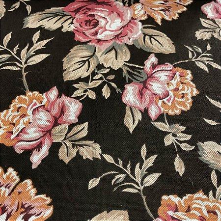 tecido para Sofá e Estofado Floral Em Tons de Rosa e Marrom - Egito 47