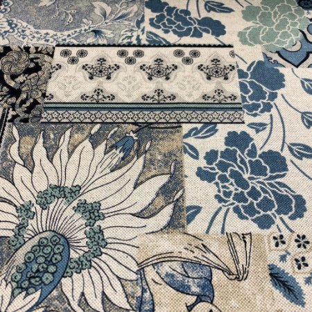 tecido para Sofá e Estofado Floral Em Tons de Azul - Egito 48