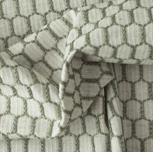 Tecido Para Sofá e Estofado Bordado Versalhes Musgo  VES - 31