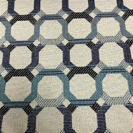 Tecido Para Sofá Jacquard Geométrico Gradil Azul- Évora 34