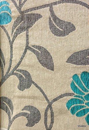 Tecido para sofa chenille Floral Creme, Verde Agua e Verde - Tur 02
