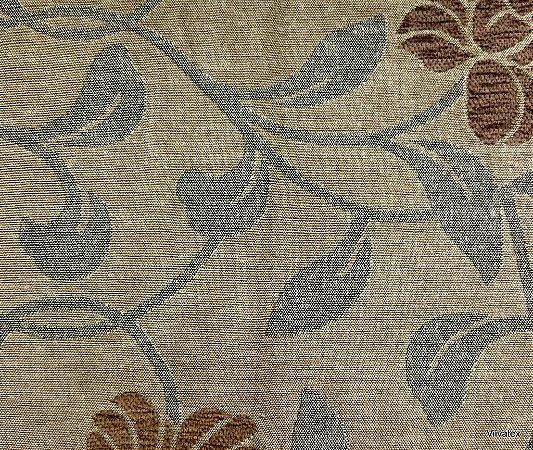 Tecido para sofa chenille Floral Tons de Bege escuro, Cinza, Marrom - Tur10