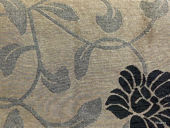Tecido para sofa chenille Floral Bege, Cinza - Tur 18