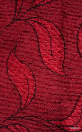 Tecido para sofa chenille Folhas Vermelho - Tur 30