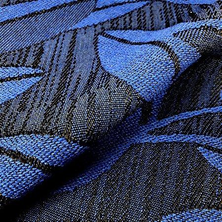 Tecido Para Sofá Jacquar Azul Folhas - Havana 40
