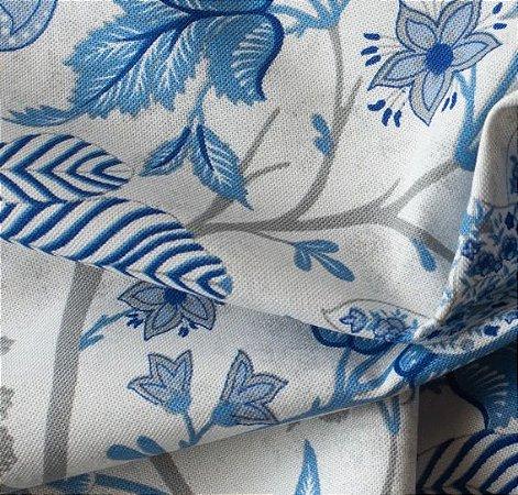 Tecido para Sofá e Estofado Impermeabilizado Azul Floral - AST- 35