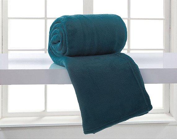 Manta Solteiro Azul Adriático Microfibra Corttex Home Design 2,00 x 1,50 mts