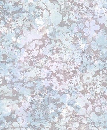 Papel de Parede Freestyle Flores Azul Bebe e Lilas - L39101