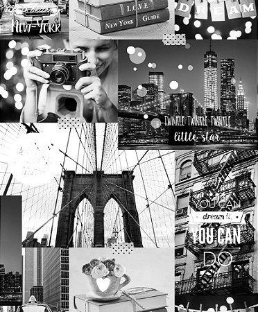 Papel de Parede Freestyle Patchwork New York Laranja, Preto e Branco - L31005