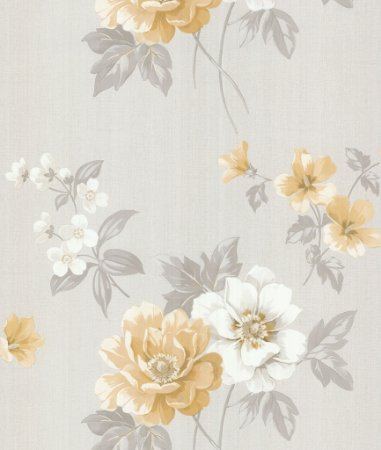 Papel de Parede Garden Flores Douradas e Brancas - SZ002758