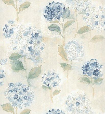 Papel de Parede Garden Flores e Folhas Azul e Creme - SZ003009
