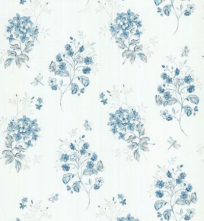 Papel de Parede Garden Ramos e Flores Azul e Creme - SZ002704