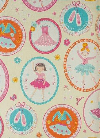 Papel de Parede Infantil Treasure Hunt - Fundo Creme com Bailarinas em Quadrinhos TH-68122