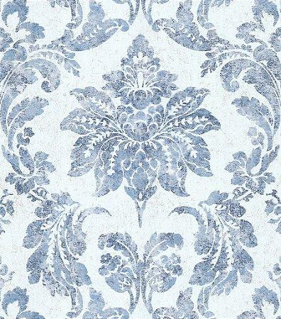 Papel de Parede Vitoriano Folhas e Flores Branco e Azul SZ-003352