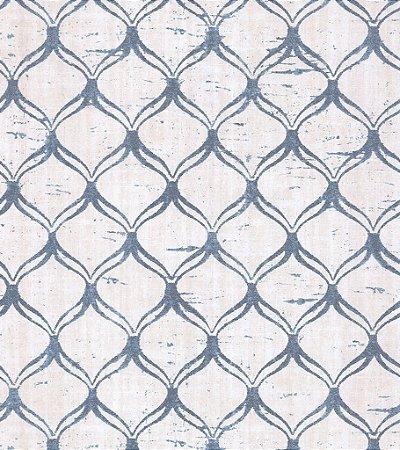 Papel de Parede Vitoriano Formas Geométricas Creme e Azul SZ-003329