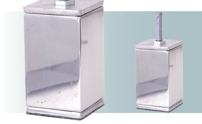 Pe para sofá em aluminio quadrado maciço 10 cm altura - AL73