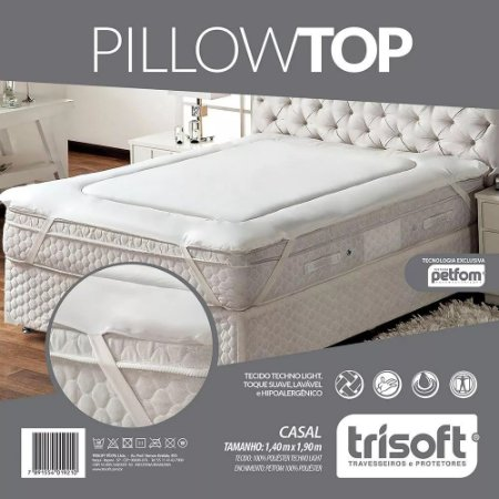 Pillow Top- Casal 1,40m X 1,90m - Fibras Petfom Trisoft
