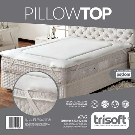 PILLOW TOP KING SIZE - 1,93M X 2,03M - FIBRAS PETFOM TRISOF