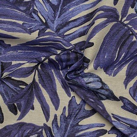 Tecido Acqua Sammer Estampa De Folhas Azul - Summer 316