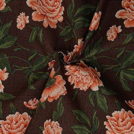 Tecido Acqua Sammer Floral Marrom em Tons de Marrom e Laranja  - Summer 340