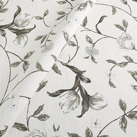 Tecido algodão impermeabilizado Flora Creme Sev 07
