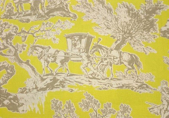Tecido algodão impermeabilizado Liso Amarelo e fundo Cinza toile de jouy Sev 44
