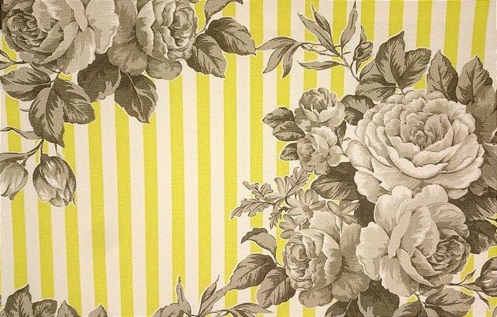 Tecido algodão impermeabilizado Listrado Creme amarelo e Floral Cinza Sev 45