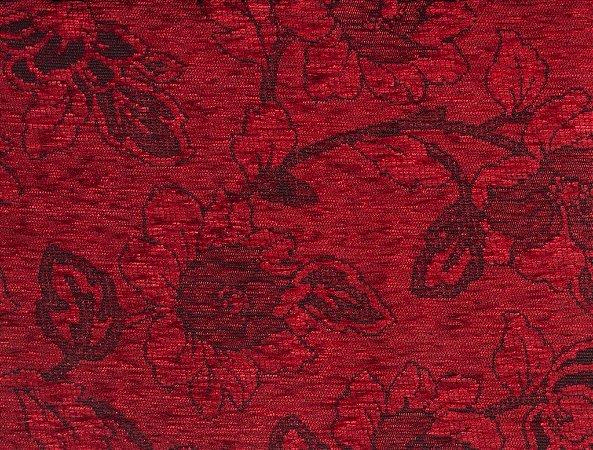 Tecido Chenille Floral Vermelho - Pol 43
