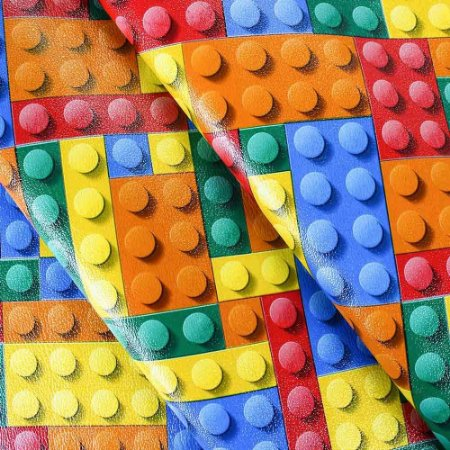 Tecido Corino Estilo Lego Blocos Coloridos