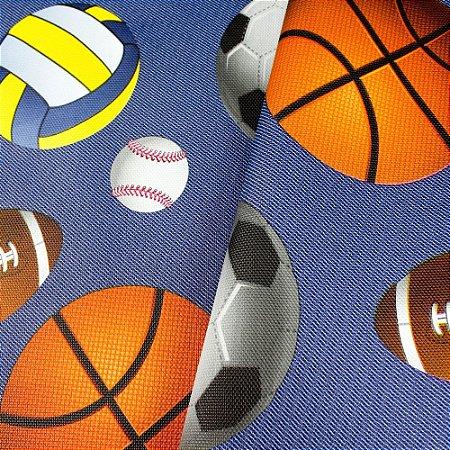 Tecido Corino Infantil Bolas Esportivo Fundo Azul Jeans