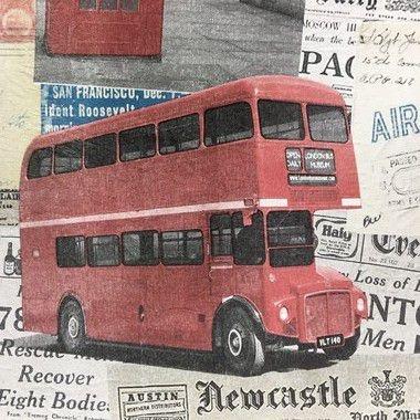 Tecido Corino Retro Ônibus E Carro Londres Fundo Jornal