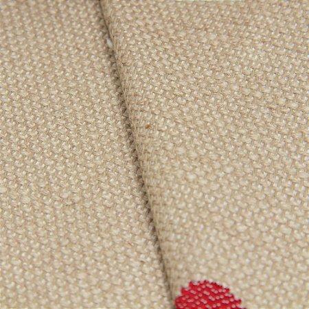 Tecido linho Jacquard Impermeabilizado Bege Escuro e bolas Vermelho - Aus 44