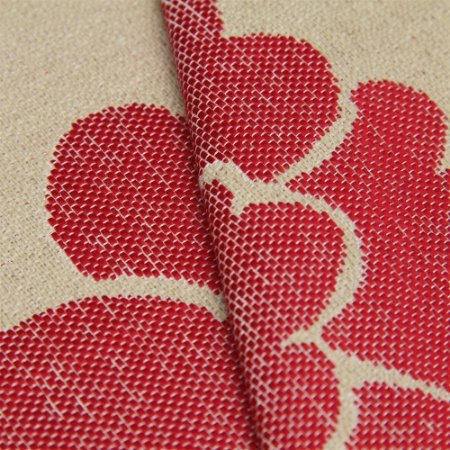 Tecido linho Jacquard Impermeabilizado Bege Escuro e Floral Vermelho - Aus 46